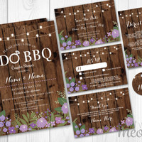 Wedding Invitations I Do BBQ Set Template Purple INSTANT DOWNLOAD Rustic Package Printable Invites Save The Date Wood Personalize Editable