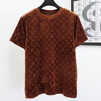Louis Vuitton LV solid color suede round neck short-sleeved T-shirt-3