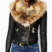 Trendy Faroonee PU Leather Jacket with Faux Fox Fur Collar Women Autumn Coat Female Slim Short Outerwear Overcoat Plus Size 3X Q1660 AT_94_13