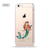 Little Mermaid Clear Soft Disney Phone Case For iPhone 7 7Plus 6 6s Plus 5 5s SE C