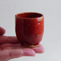 2 oz Ounce Sake Shot Glass, Strawberry Red dark pink, Unique Espresso Mug Cup Handleless, Handmade Wheel Thrown yunomi stoneware pottery