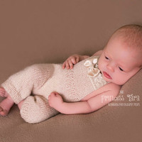 Beige Newborn Knit Overall - Baby Girl Props;  Hand Knit Angora Romper, Newborn Photography Prop, Knit Jumpsuit, Baby Clothing