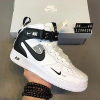 Nike Air Force 1 Mid AF1 high-top men's and women's wild fashion sports shoes white