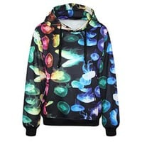 Erlking Women's Punk and Rock Printing Colorful Jellyfish Hooded Sweatshirts