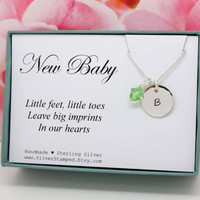 Baby shower gift for New mom gift for new mommy necklace, push Gift for Wife, push present,  Sterling Silver Initial Birthstone necklace