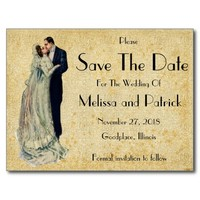Vintage Art Wedding Save The Date Card Postcard