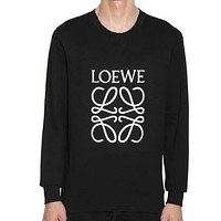 LOEWE Autumn Winter Popular Women Men Hot Embroidery Cute Sweater Black