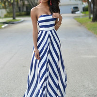 Blue and White Chevron Strapless Maxi Dress