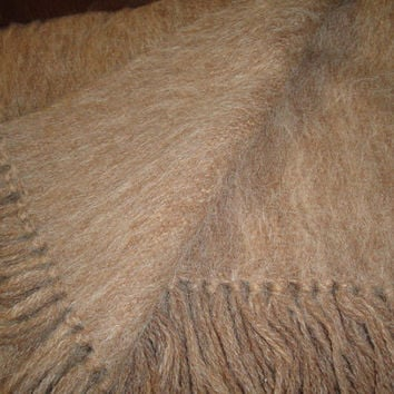 Vintage Llama Hair Thick Woven Wrap Shawl Big Scarf