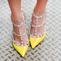 Valentino Trending Women Chic Rivet Pointed Sandals Shoes High Heels Yellow