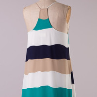 Wide Striped Racer Back Dress - Green and Beige