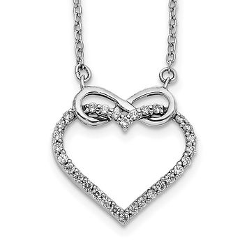 14k White Gold Real Diamond Heart Infinity 18 inch Necklace