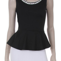 Embellished Neckline Peplum Top  - BLACK