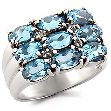 Sterling Silver Cubic Zirconia Ring 6X002 - 925 Sterling Silver Ring
