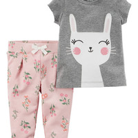 2-Piece Bunny Tee & French Terry Pant Set