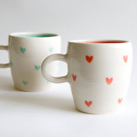 Coral and Mint Ceramic Mugs - SET OF TWO Heart Design  Handmade ceramics by RossLab