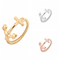 Fashion Jewelry Friendship Gifts Simple Jewelry Cute Boat Anchor Rings R010
