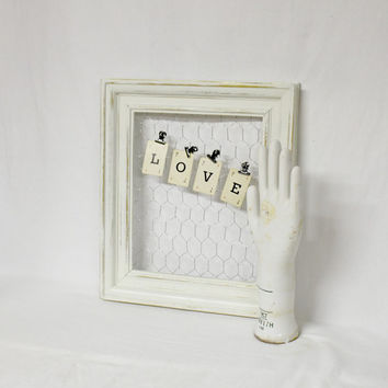 Farmhouse White Frame with Chicken Wire - Farmhouse Antique - White Frame - Distressed Frame - Farmhouse Frame - Antique - Rustic Frame