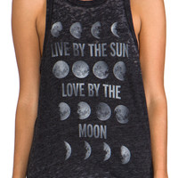 Chaser Live By The Sun Vintage Deep Armhole Tank in Black