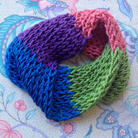Pink, Green, Blue, and Purple Color Block Infinity Scarf, Hand Crochet