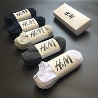 10 pairs/lot Cotton Large Size Breathable Boat Socks