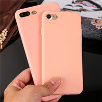 Popular Cute Candy color Soft Ultrathin TPU Phone Cases for iPhone 7 7Plus Hot sale silicone back protect cover for iPhone7 Plus