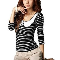 Women White Scalloped Collar Striped Pullover Shirt