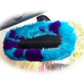 Sully Spot monster faux fur rear view interior mirror cover