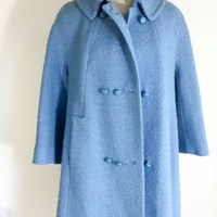 SALE Vintage Blue Coat  Heavy Textured Women's Long Coat Baby Blue Double Breasted Retro Coat Or Jacket For Women Long Blue Winter Vintage C