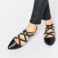 Park Lane Strappy Leather Flat Shoes