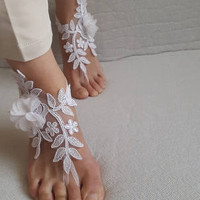barefoot sandals,flowers,white,  french lace,Barefoot sandals, wedding sandals,costume accessories, free shipping!