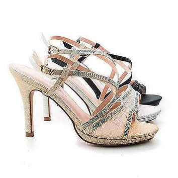 Marcie26 Lace By Blossom, Lace & Rhinestone Studded Sling back Stiletto Sandals