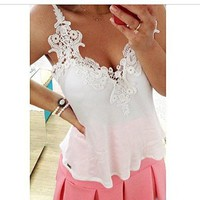 Women's Sexy Lace Stitching Backless Chiffon Blouse Strap Tops Shirt White