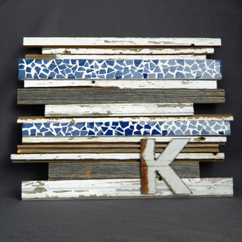 Reclaimed Barn Wood Wall Art with Tile Mosaic strips, Sculpture mixed media, Wall decor, Rusty steel cutout Letter, Shabby Chic