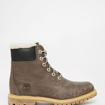 Timberland 6 Inch Premium Grey Lace Up Flat Boot