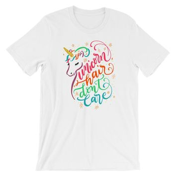 Colorful Unicorn Shirt Unicorn Hair Don't Care Tshirt for Women