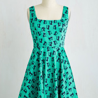 Cats Mid-length Sleeveless A-line Very Charming Dress in Cats