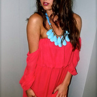 Straight Forward Dress in Coral | The Rage