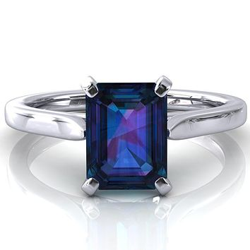 Darci Emerald Alexandrite 4 Prong Cathedral Solitaire Engagement Ring