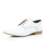 River Island MensWhite leather formal lace up shoes