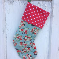 25% OFF WEEKEND SALE- Floral Stocking -Christmas Stocking-Upcycled Bed Linens