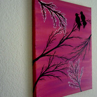 Love bird painting Bird lover Valentines gift Contemporary Canvas wall art Acrylic painting Canvas art Lovers art Tree art Pink bird art