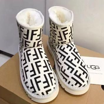 Fendi Print White Ugg Boot