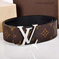 Louis Vuitton LV Fashion Tartan Monogram Couple Fashion Smooth Buckle Leisure Leather Belt