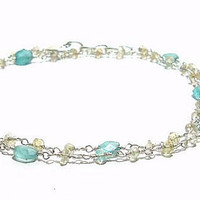 Sterling Silver Apatite Necklace - Apatite And Labradorite Necklace  -  Sterling Silver Wire Wrapped Necklace