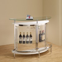 Home bar unit modern style white high gloss finish curved front bar unit with tempered glass shelves and chrome accents