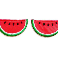 Set 2pcs. Watermelon Red Summer Fruit New Sew / Iron On Patches Embroidered Applique Size 3.4cm.x1.8cm.