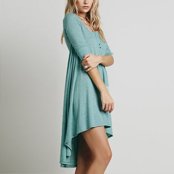 3/4 Sleeve long shirt dress