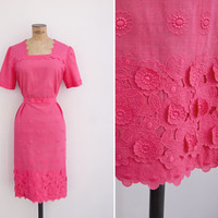 1960s Dress - Vintage 60s early 70s Hot Pink Floral Applique Dress - Spring Romance Dress