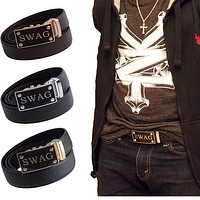 FEDEY Mens Classic Leather Ratchet Belt with SWAG Automatic Buckle